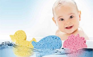 Bebek ciltleri için doğal selülozik banyo süngeri: Tahrişi önlüyor