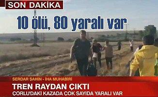 Tekirdağ'da tren kazası, vagonlar devrildi 10 ölü 80 yaralı var