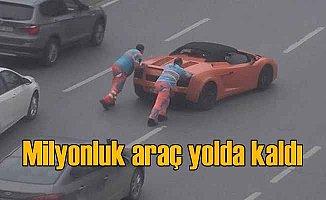 Milyonluk Lamborghini yolda kaldı, vatandaş telefona sarıldı