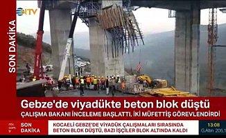 Otoyol'da viyadük çöktü; 4 işçi blok altında kaldı
