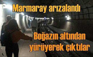 Marmaray arızalandı, yolcular yürüyerek çıktı