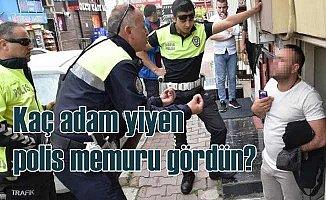 Polis memurunu çileden çıkaran ehliyetsiz sürücü