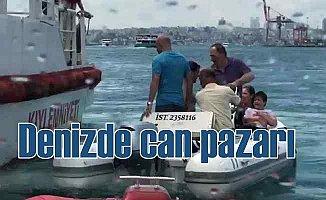 Denizde can pazarı, tekne alabora oldu