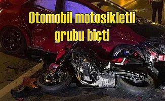 Otomobil, motosikletli gruba daldı, 1 ölü 2 yaralı var