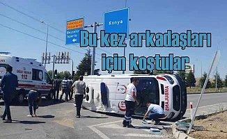 Seydişehir'de ambulans kaza yaptı, yolda can pazarı