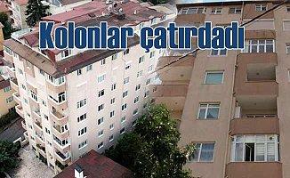 9 katlı binanın kolonları çatladı, 39 daire boşaltıldı