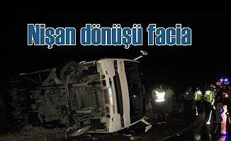 Nişan dönüşü kaza, 8 kişi ölümden döndü