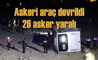 Erciş'te askeri araç devrildi, 26 asker yaralı