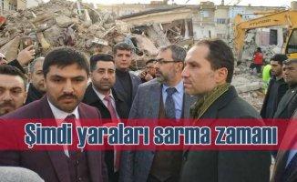 Fatih Erbakan deprem bölgesi Elazığ'da | Şimdi yaraları sarma zamanı