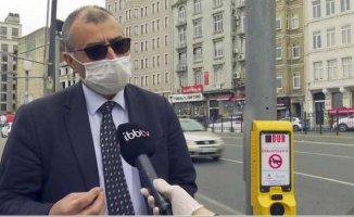 İstanbul'da koronavirüse karşı yayalara temassız uyarı cihazları