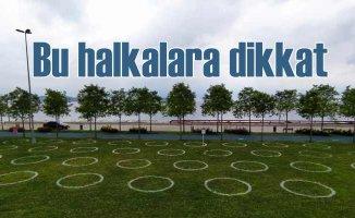 İBB'den parklara sosyal mesafe halkaları