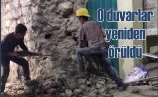 Galata Kulesi'nde yıkılan duvar yeniden örüldü