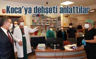 Saldırıya uğrayan sağlık çalışanlarına Bakan Koca'dan moral ziyareti