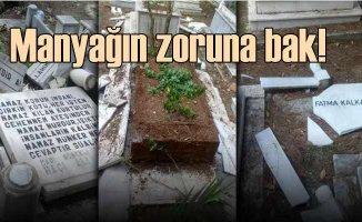 Mezarda asılı Türk bayraklarını indirdi, mezarları kırdı