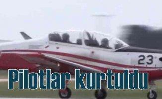 İzmir'de askeri uçak düştü, 2 pilot kurtuldu