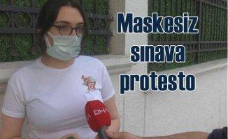 Maskesiz ALES sınavını protesto ederek çıktı