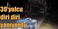 Babaeski'de otobüs alev alev yandı: 30 yolcu faciadan döndü