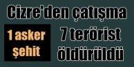 Cizre'de çatışma, 1 şehit, 6 PKK'lı öldürüldü