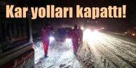 Kar, Afyon'da yolları kapattı : Uzun kuyruklar oluştu