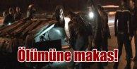 Makas atan otomobil TEM'de TIR'ın altına girdi