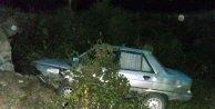Otomobil menfeze uçtu: 4 yaralı
