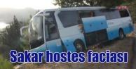 Sakar hostes şoförün üstüne düştü, otobüs uçuruma yuvarlandı