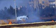 Suriye sınırındaki yangına polis TOMA ile müdahale etti
