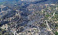 Orman yangınında zarar gören alanlar havadan görüntülendi