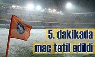 Başakşehir Bursaspor maçı 5. dakikada tatil edildi