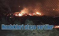 PKK'lı teröristler hendekleri petrolle doldurup ateşe verdi