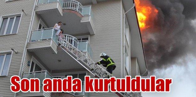 Yangında mahsur kalan anne ve bebeği kurtarıldı